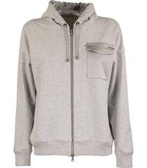 brunello cucinelli lightweight stretch cotton french terry sweatshirt with monili
