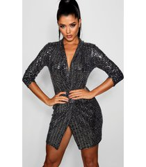 metallic mini bodycon blazer jurk, zilver