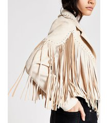 river island womens cream suedette fringe studded jacket