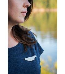 broszka porcelanowa origami wieloryb biała