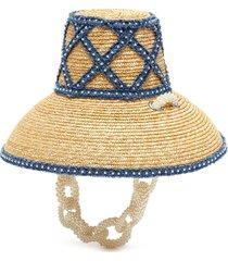 pearl chain weaved denim straw bucket hat