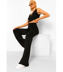 gebreid hemdje en wide leg broek set, black