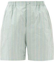 striped cotton-poplin shorts