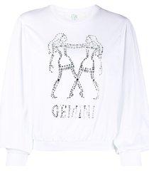 alberta ferretti gemini crystal-embellished sweatshirt - white