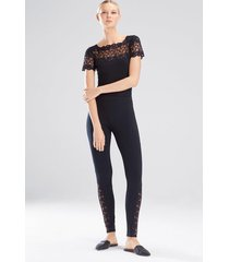 element short sleeve bodysuit, women's, black, cotton, size m, josie natori