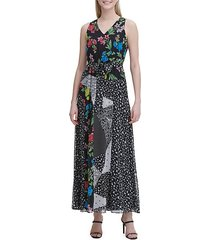 patchwork floral maxi dress