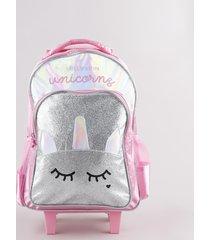 mochila escolar infantil com rodinhas unicórnio holográfico brilhante rosa
