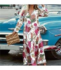 zanzea vestido largo largo de fiesta de verano para mujer vestido largo de fiesta de playa kaftan -rojo