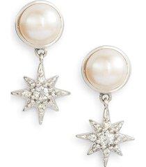women's anzie micro starburst mabe pearl & topaz drop earrings