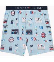 tommy hilfiger men's badge print fashion boxer sailing badges print on aquamarine - l