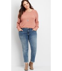 maurices plus size jeans womens denimflex® medium wash rolled boyfriend jeans blue
