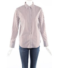 brunello cucinelli brown white striped cotton collared shirt brown/white sz: m