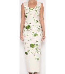 floral knit column midi dress