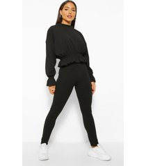 jersey frill peplum hem top and legging co-ord, black