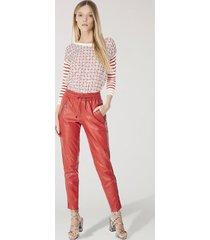 calça de couro sport cós franzido vermelho madri - 34