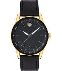 reloj movado 607223 negro cuero hombre