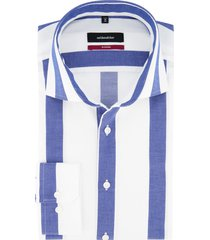 overhemd seidensticker blauw gestreept modern fit