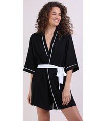 robe feminino manga 3/4 preto