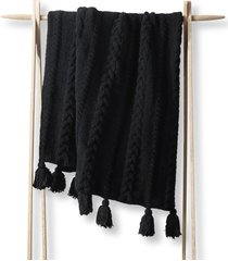 sunday citizen braided pom pom throw blanket in black at nordstrom