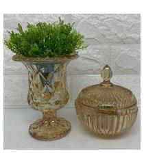conjunto de vaso luxo âmbar com brilho e potiche