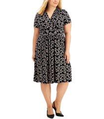 kasper plus size printed knit dress