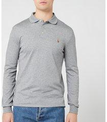 polo ralph lauren men's pima long sleeve polo shirt - steel heather - xxl
