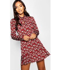 petite woven tie neck floral tea dress, berry