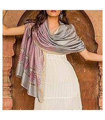 cotton and silk shawl, 'fortune's elegance' (india)