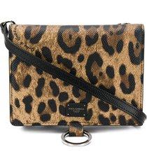 dolce & gabbana leopard print shoulder bag - brown
