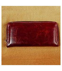long leather wallet, 'bajio russet' (mexico)