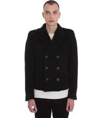 amiri double breasted coat in black wool