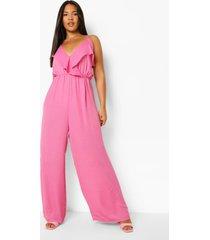 plus cullotte jumpsuit met ruches, pink