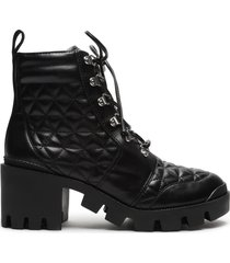cory leather combat bootie - 11 black leather