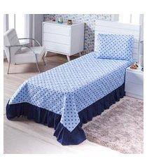 colcha cobre leito solteiro coroinha azul 3 peças