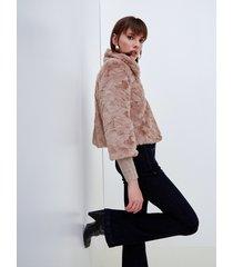 motivi cappotto corto in simil pelliccia donna beige