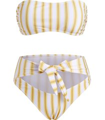 striped tied cutout high waisted bandeau bikini swimwear