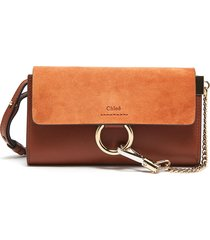 'faye' suede flap leather chain wallet