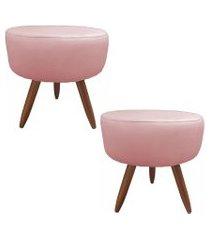 kit 02 puffs banquetas redonda suede rosa - ds móveis