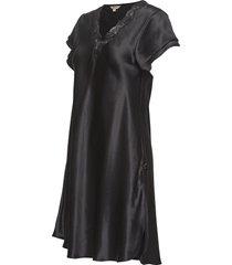 pure silk - nightgown w.lace, short nachthemd negligé zwart lady avenue