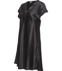 pure silk - nightgown w.lace, short nachthemd negligé zwart lady avenue