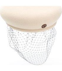 maison michel new bonnie lace veil beret - neutrals
