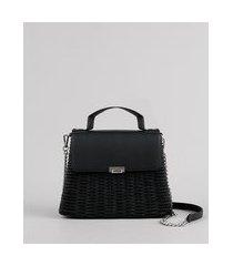 bolsa feminina de palha média alça transversal com corrente preta