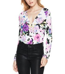 bcbgeneration floral-print knit surplice bodysuit
