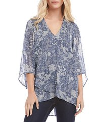 bracelet-sleeve asymmetric lace-print sheer top