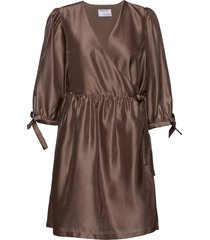 enola wrap dress kort klänning brun designers, remix