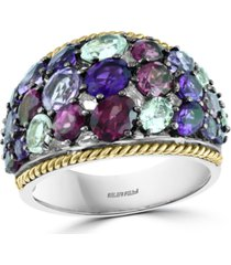 effy multi-gemstone cluster ring in sterling silver & 18k gold-plated sterling silver