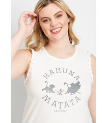 maurices plus size womens the lion king braided sleeve graphic tank top white