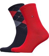 th women check sock 2p lingerie socks regular socks röd tommy hilfiger