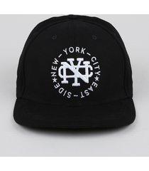"""boné masculino """"new york"""" com bordado aba reta preto"""