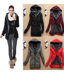 chic ladies winter warm parka cotton slim zipper hoodie jacket coat